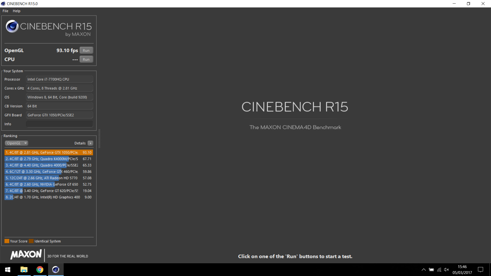 CINEBENCH R15 OpenGL - GPU Test benchmarks