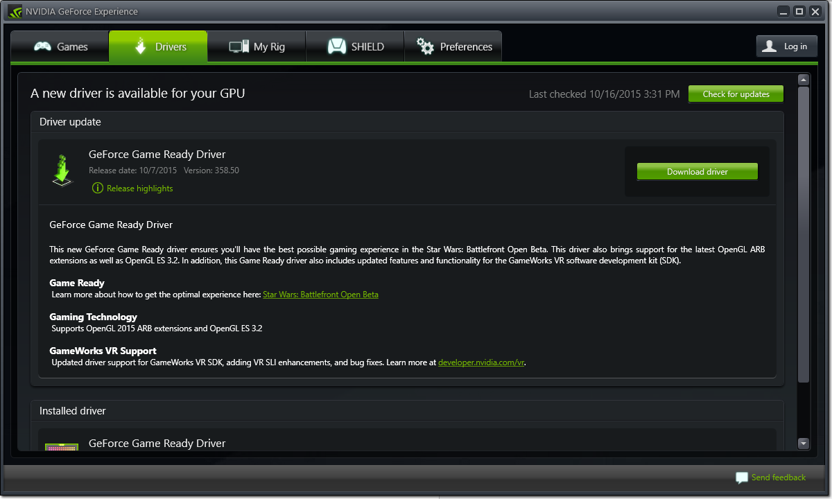 GeForce Game Ready Driver notebook gamer