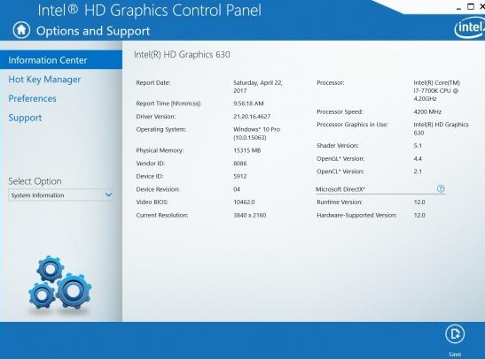 intel HD graphics control panel