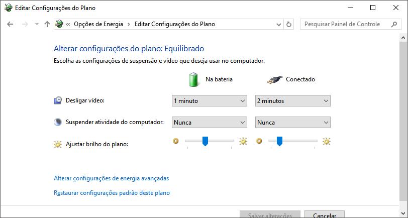 editar configurações do plano de energia economia de bateria notebook