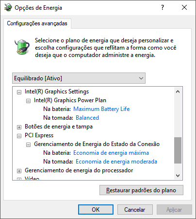 Configurando Intel HD e PCI Express