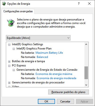 Configurando Intel HD e PCI Express
